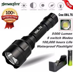 New 5000Lm C8 XM-L T6 LED 18650 Flashlight 5 Mode Torch Tactical Flashlight Outdoor Sports Bike Cycling Accessories Jane 26 #Affiliate