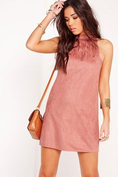 Missguided - Sleeveless Fringe Trim Faux Suede Shift Dress Pink