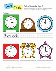 First Grade Time Worksheets: Telling Time to the Hour
