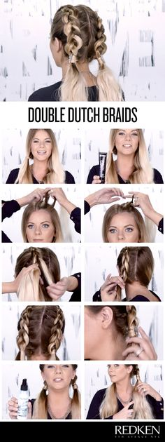 Double dutch braids look great on everyone! Try this look to keep hair off your…