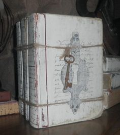 Painted Book Stack, Shabby Chic, White-French Script - Distressed, Wrapped with Jute, Vintage Rusty Skeleton Key, Ampersand Transfer