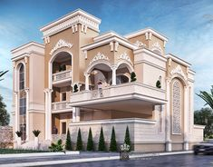 Princess Haya Villa on Behance Villa Design, Facade Design, Exterior Design, Modern Exterior, Front View Of House, House Front Design, Village House Design, Bungalow House Design, Dream House Exterior
