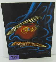 """Lot 311 in the 11.5.13 auction! Wonderful Southwestern style acrylic on board original signed painting by esteemed Navajo artist Jackie """"Jacky"""" Black. It is signed & dated '75. The scene depicts a still-life scene of a highly decorated seed pot with geometric & lizard motifs, surrounded by colorful symbolic Native American Indian flint corn / maize. Painted on a background of black with wisps of turquoise blue; very similar in style as Navajo artist Jimmy Yellowhair. #Art #POGAuctions"""