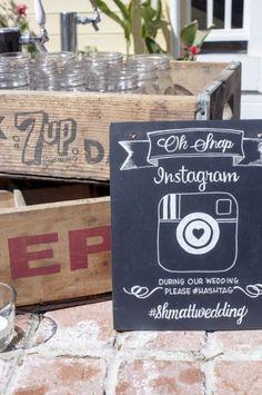 Super cute rustic instagram sign at wedding.