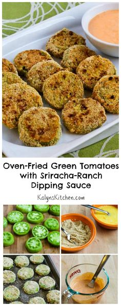 If you're looking for a recipe that will wow your guests at a summer party, these low-carb and gluten-free Oven-Fried Green Tomatoes with Sriracha-Ranch Dipping Sauce are definitely a winner! This recipe uses unripe green tomatoes in a healthier version of the classic southern fried green tomatoes. [from KalynsKitchen.com]