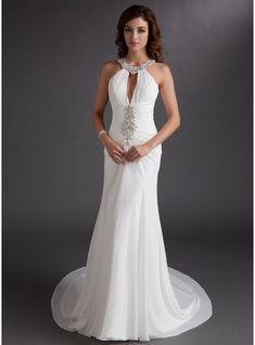 Trumpet/Mermaid Scoop Neck Chapel Train Chiffon Prom Dress With Ruffle Beading Sequins