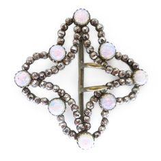 Vintage Art Deco Opalescent Glass Cut Steel Buckle   Clarice Jewellery