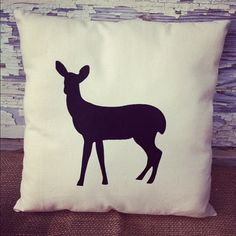Fawn Deer Silhouette Pillow Country Woodland by BoondockFabrics, $8.99