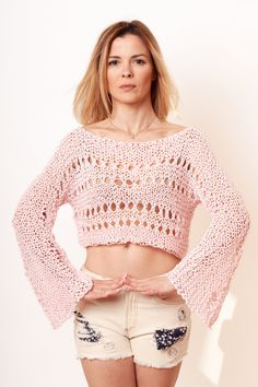 summer Crop top  summer crop knit  summer knit  vintage crop top  unique knit top  crop sweaters for women tops for womengift for her