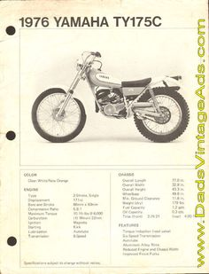 1976 Yamaha TY175C photo & specs This is the bike that really started it all off.