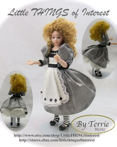 Dollhouse Doll ALICE in WONDERLAND Doll Pattern and Instructions PDF Miniature Dollhouse 1:12 Scale Instant Download diy
