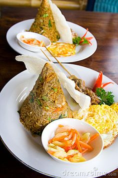 Photo about Typical Indonesian food from rice called nasi goreng. Image of dish, green, lunch - 6647894 Indian Food Recipes, Asian Recipes, Healthy Recipes, Food Plating Techniques, A Food, Food And Drink, Malaysian Food, Food Decoration, Indonesian Food