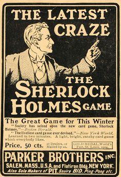 1904 Vintage Ad for Parker Brothers' Sherlock Holmes Game.