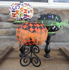 Mod Podge Pumpkins - Festive fabric and Mod Podge make this a fun pumpkin craft for Halloween.