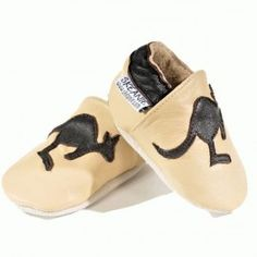 How cute are these to wear to a sporting match, Australia Day or to send as a little Aussie gift - Kangaroo Leather Baby Soft Soled Shoes - Australian Animal