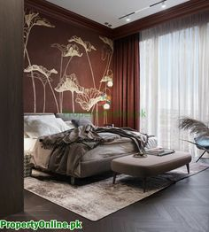 Colorful Bedroom Designs & Ideas Arty Bedroom, Bedroom Red, Modern Bedroom, Feature Wall Bedroom, Bedroom Wall Colors, Suite Principal, Minimalist Bed, Cool Color Palette, Cool Bookshelves