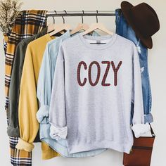 Cozy Sweatshirt, Comfort Colors Sweatshirt, Fall Sweatshirt, Women's Fall Sweatshirt, Fall Sweater, Cozy Sweater, Womens Fall Sweater, Buffalo Plaid Sweatshirt