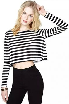 Super Black White Striped Crop Tee - OASAP.com