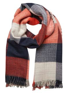 Monochrome Red Check Scarf - Scarves & Snoods - Accessories - Dorothy…