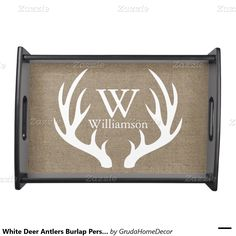 White Deer Antlers Burlap Personalized Serving Platter