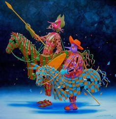 ''Don Quixote'' Claudio Souza Pinto. Art Romantique, Man Of La Mancha, Dom Quixote, Arte Popular, Pop Surrealism, Naive Art, Art Graphique, French Art, Surreal Art