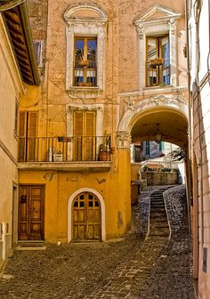 LOVE this golden image. Italian cobble street, with steps cut into the center of that sloped road. An arched door, a square door. Louvered balcony doors, railing windows! So awesome.