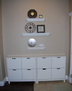 Awesome shoe storage idea from ikea... big enough? Entry way possibility.