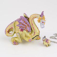 Jeweled Dragon Trinket Box with Pendant $28.99
