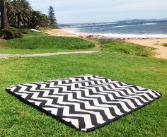 Picnic Rug, Beach Blanket Modern Chevron Zig Zag Black & Natural SUMMER