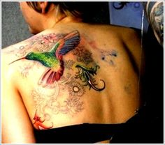 Hummingbird Tattoo Ideas: Unique HUMMINGBIRD TATTOO Ideas For Girl On Upper Back ~ Tattoo Design Inspiration