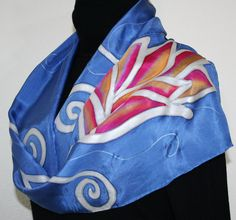 Hand Painted Silk Scarf Fairy Flowers. Silk Scarf in Periwinkle. Size 11x60. Made in Colorado. 100% silk. MADE TO ORDER.