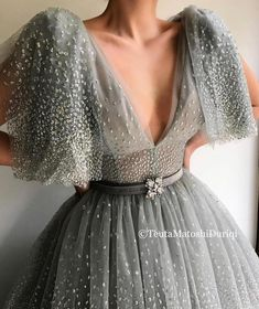 Details - Grey Sky dress color - Handmade Glittery Tulle dress fabric - Embroidered belt made with TMD crystals - A-line dress shape with puffy glittery sleeves and V- neck - For parties and special occasions Evening Dresses, Prom Dresses, Formal Dresses, Wedding Dresses, Dress Outfits, Fashion Dresses, Prom Outfits, Gowns For Girls, Queen Dress