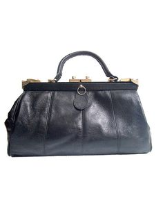 70s DOCTOR BAG  black faux leather by lesclodettes on Etsy, $45.00