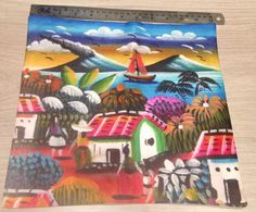 Designer painting lounge cushion cover Mexican Village limited edition in Home, Furniture & DIY, Home Decor, Cushions | eBay
