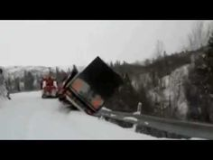 Trucks Roll Over Cliff in the Snow