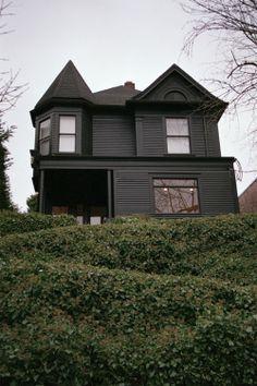 black on black house.