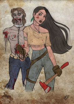 The Walking Disney: Your Favorite Disney Characters As Survivors On 'The Walking Dead'   Pocahontas/John Smith