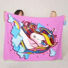 Cute Colorful Rainbow Unicorn Pink Satin Plush Fleece Blanket  $85.00  by william_zierfus2000  - cyo customize personalize unique diy