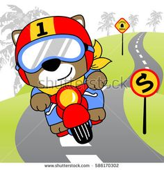 a cute animal riding a motorcycle in the road with hill road background, vector cartoon illustration