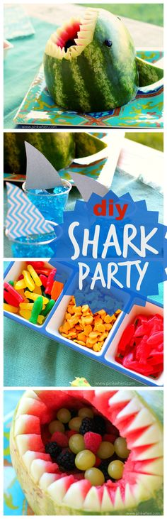 Throw a Shark Party with a few of these easy DIY eats. BONUS: video showing how to carve a Shark out of a Watermelon Diy Party, Party Ideas, Fun Ideas, Party Fun, Gift Ideas, Diy Spring, Shark Party, Mango, Food Crafts