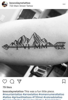 Mountain, arrow, date, tattoo