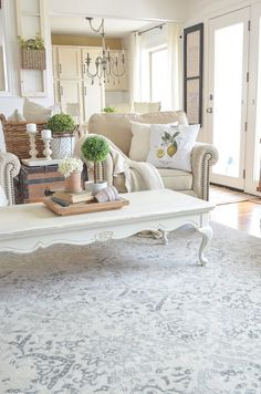 Farmhouse style living room with neutral area rug. Love the setup and love everything, especially the coffee table! Living Room Area Rugs, Cottage Living Rooms, Living Room Decor, Room Rugs, Kitchen Living, Dining Room, Living Vintage, French Country Living Room, Shabby Chic Homes