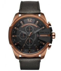Diesel Mega Chief Rose Gold-Tone and Black Leather Chronograph Watch Casual Watches, Watches For Men, Iguaba Grande, Leather Men, Black Leather, Diesel Watch, Black Models, Watch Sale, Watch 2