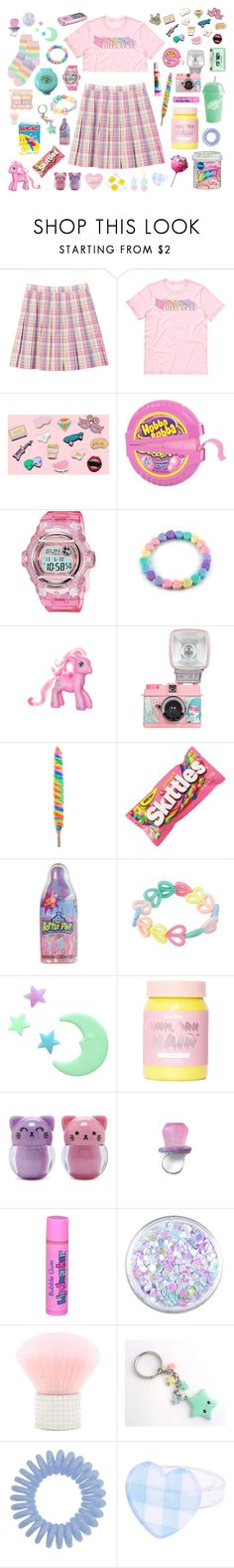 """""""Rainbows and lollipops"""" by pastelprincess152 ❤ liked on Polyvore featuring Casio, My Little Pony, Hello Kitty, Lime Crime, Forever 21, SkinCare and Hard Candy"""