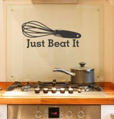 Just Beat It vinyl decal words with Whisk Utensil, Kitchen decor, bakery, novelty gift, funny words