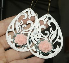 Large Filigree Teardrop Earrings, Antique Bronze Hand Painted White with Roses by groovychickjewelry, $15.50