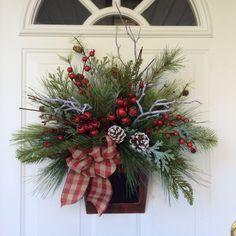 Winter Wreath-Christmas Wreath-Holiday Wreath-Winter Door Basket-Snowy Door Basket-Holiday Designer Wreath-Chalkboard Basket-Evergreen by ReginasGarden on Etsy https://www.etsy.com/listing/252204974/winter-wreath-christmas-wreath-holiday