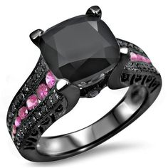 Noori 14k Black Rhodium Gold 4ct TGW Black Cushion Cut Diamond Pink Sapphire Engagement Ring