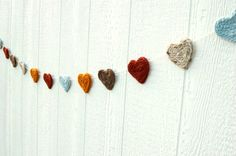 Heart Garland - Gold, light blue, brown, cream, and burnt orange - dkjones