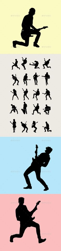 Guitarist Silhouettes - People Characters